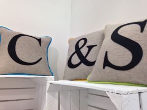 Monogrammed Colour Flash cushion